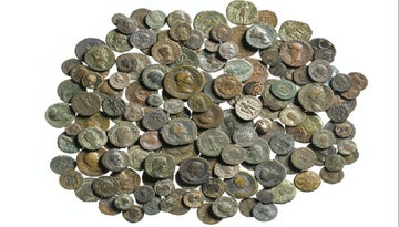 Collection of ancient coins found at Scotney Castle