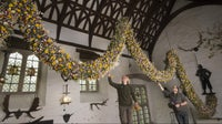 Two gardeners place the last flowers into the dried flower Christmas garland in the Great Hall at Cotehele, Cornwall