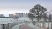 Approaching the north front in winter from the drive at Chirk Castle, Wrexham.
