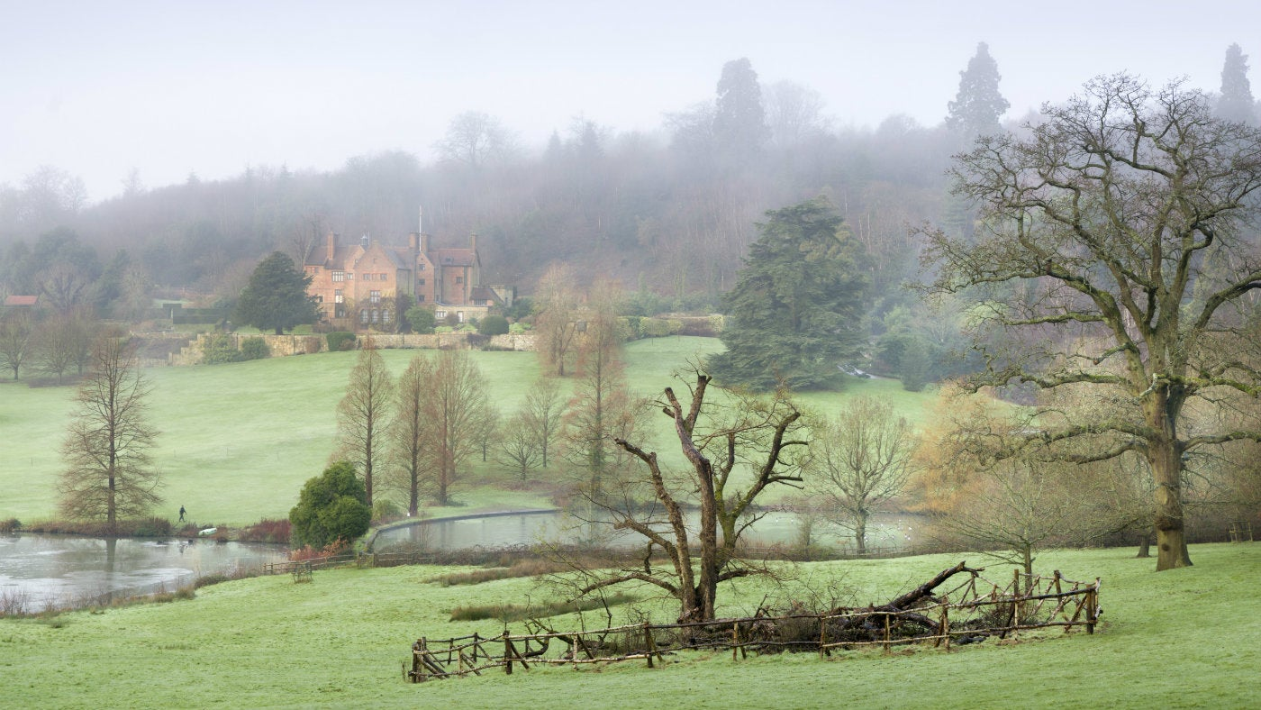 A misty view across the estate at Chartwell, a National Trust property in Kent