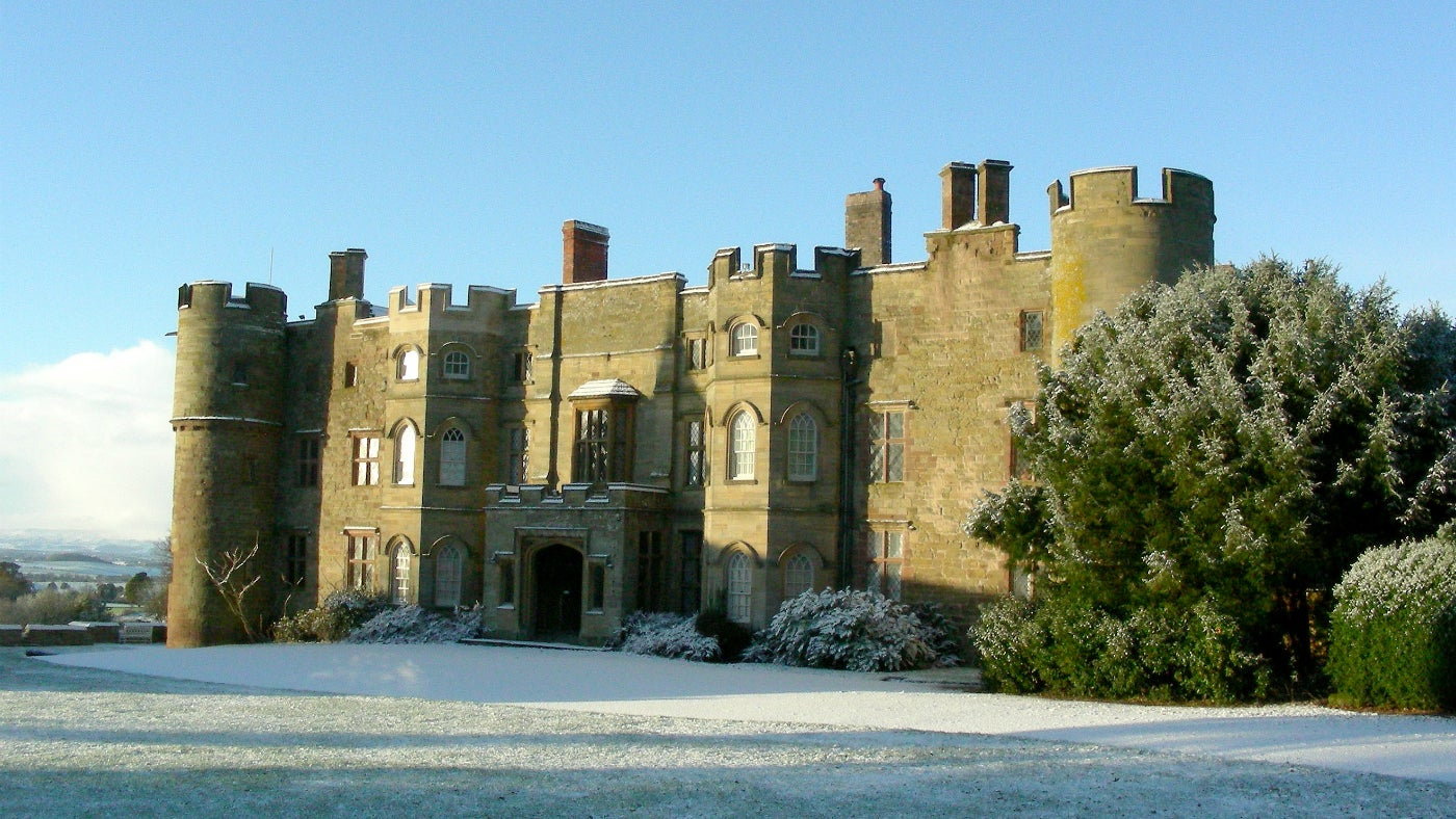 The front of Croft Castle in the snow