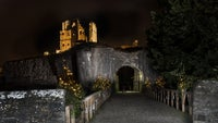 Corfe Castle lit up for Christmas