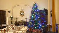 The dining room at Greenway decorated for Christmas