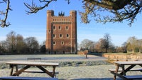 Tattershall castle with snow from the picnic area