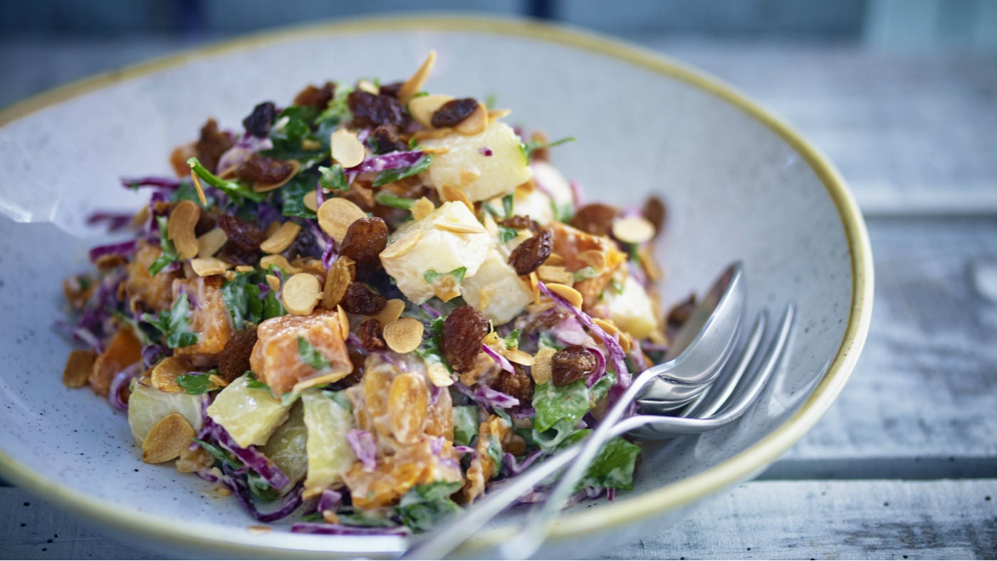 Potato, red cabbage and roasted garlic salad
