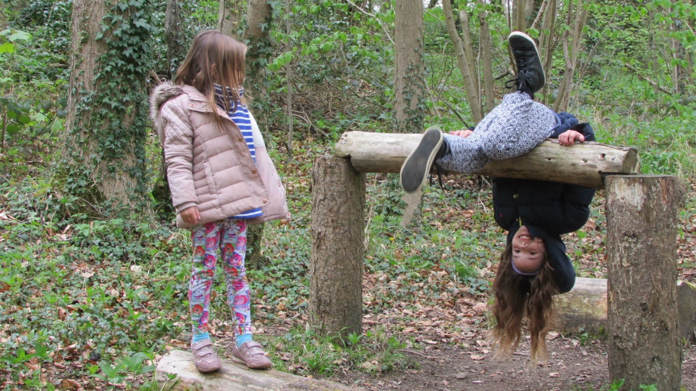 Discover the wooden balance beam at Wenlock Edge