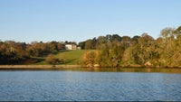 Trelissick house viewed fromt he Fal in winter