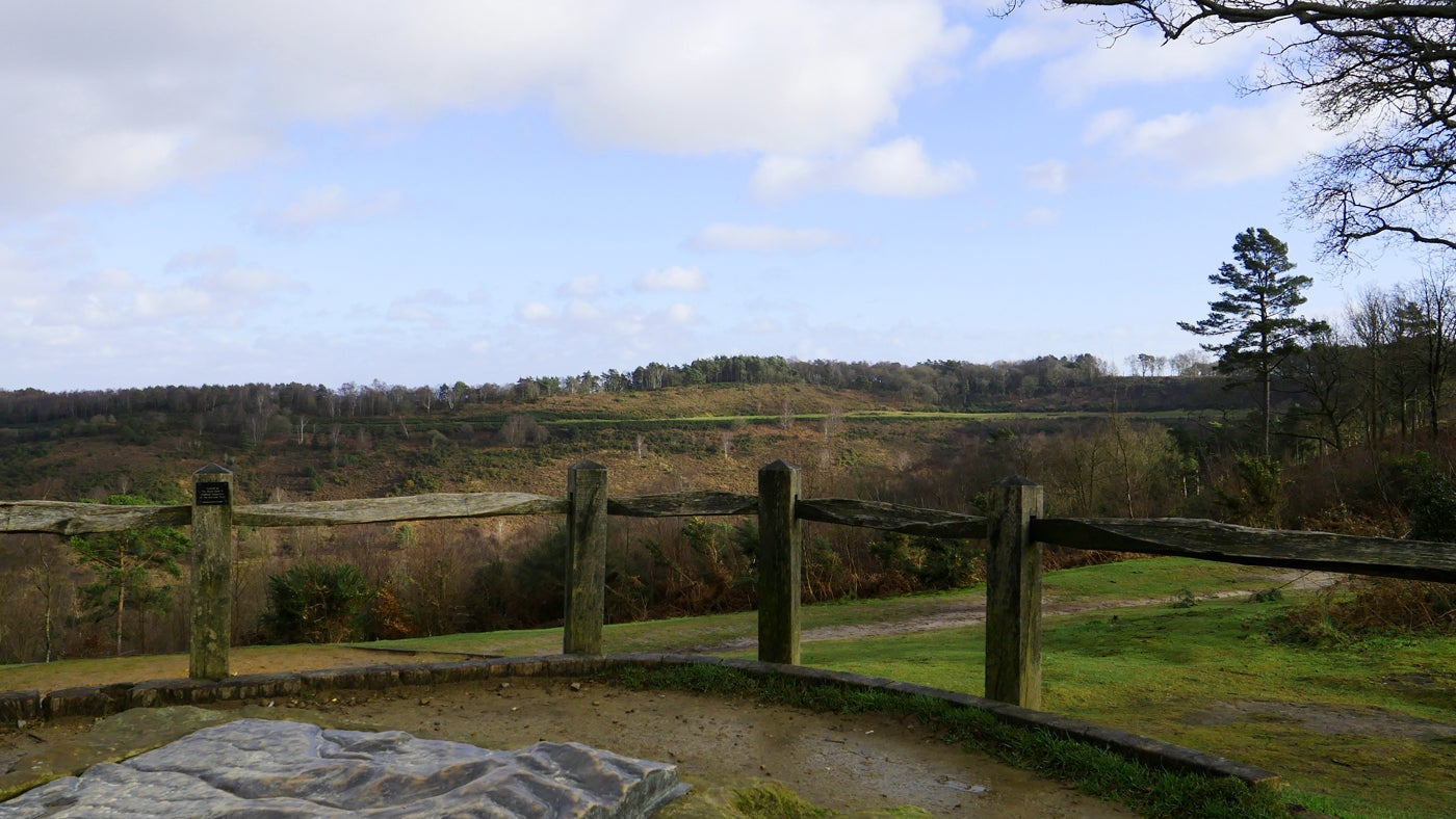 The viewpoint at the Devil's Punch Bowl in winter