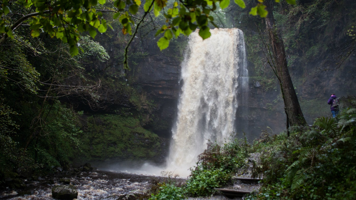 Henrhyd Falls, the highest waterfall in South Wales, near Colebren in the Brecon Beacons