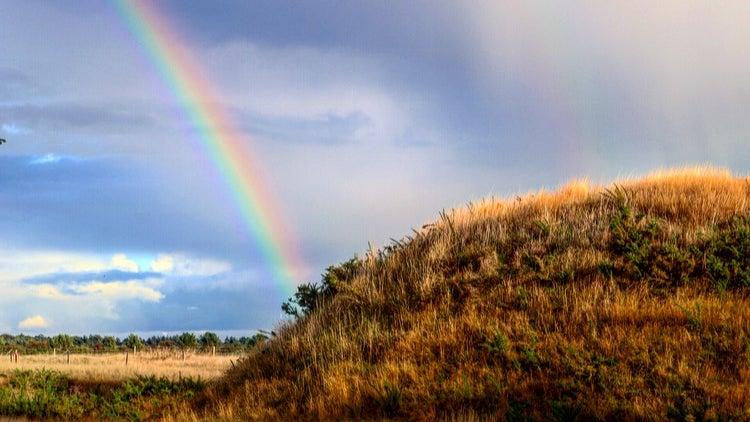 Sutton Hoo rainbow leading to Mound Two at the end