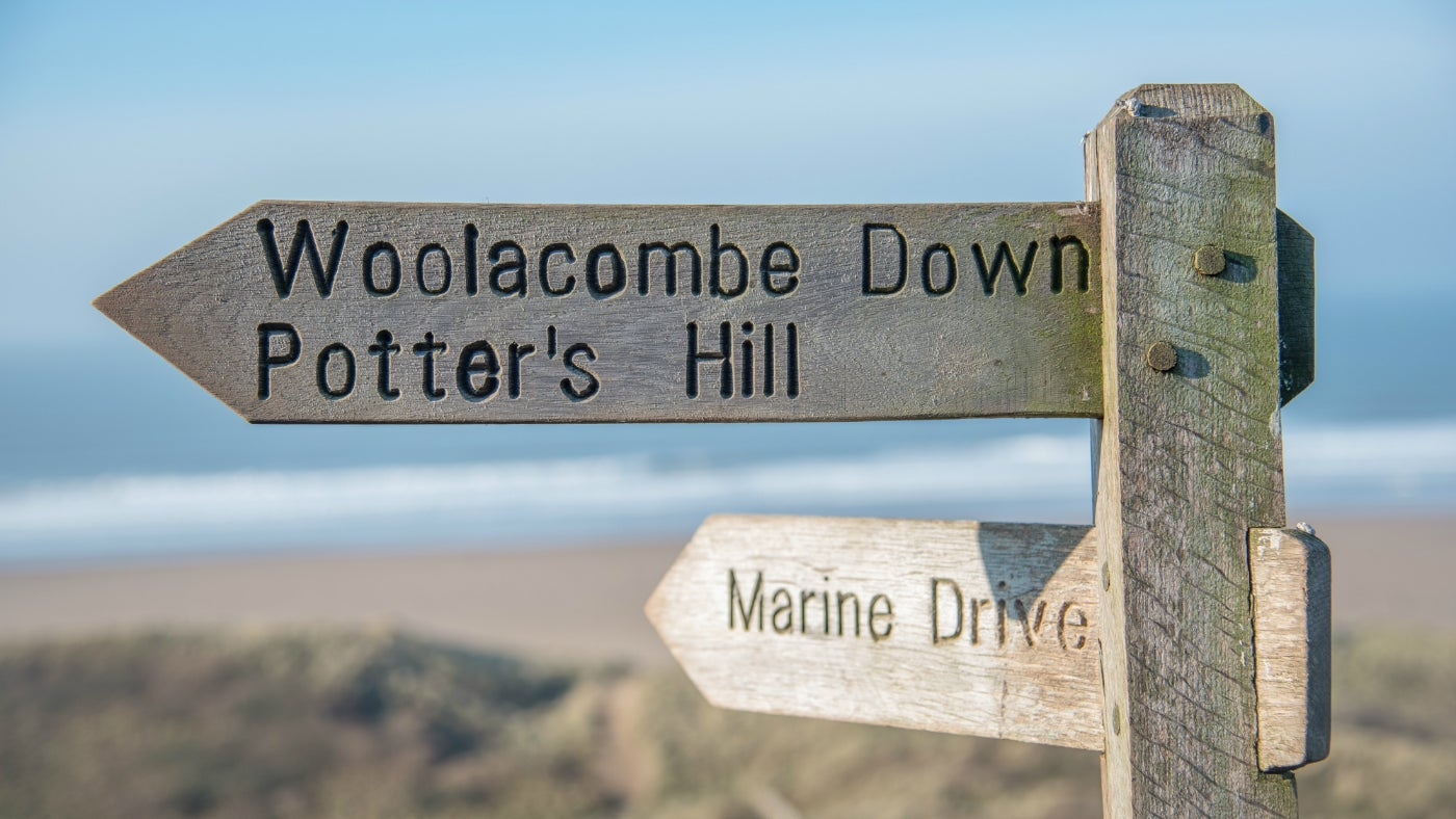 Signpost to Potter's Hill Woolacombe