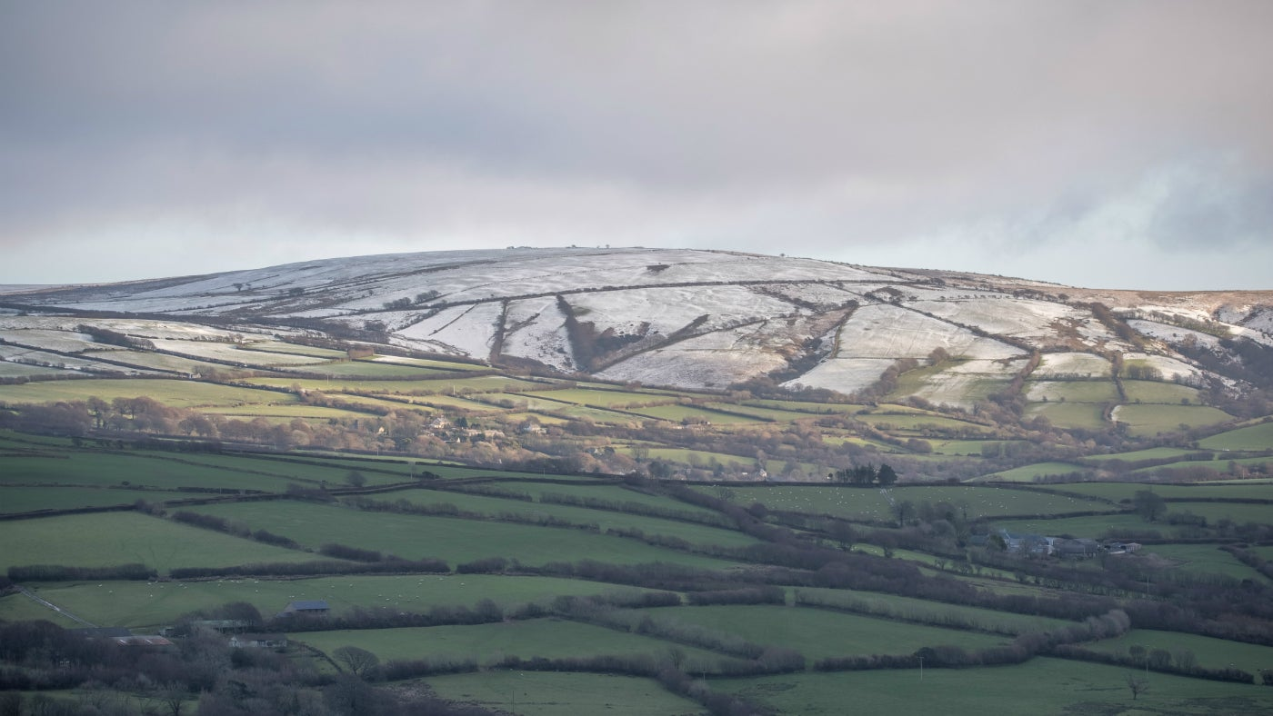 Snowy Exmoor from Holdstone Down