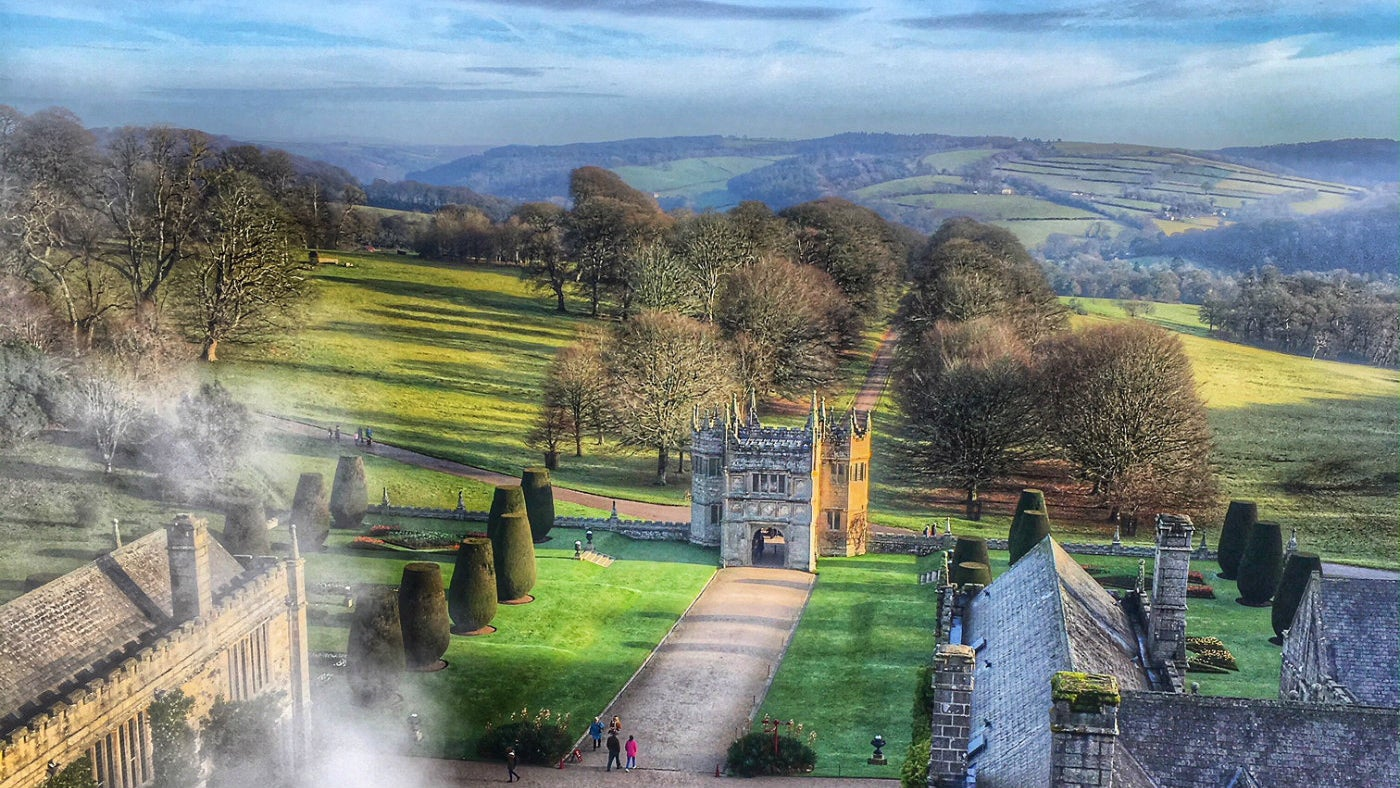 View from the roof over Lanhydrock in winter