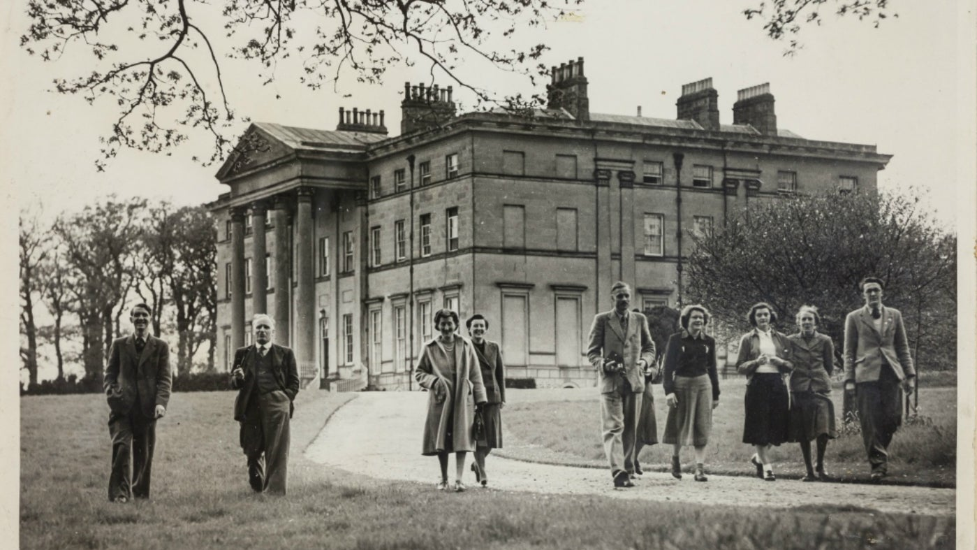 College tutors in front of the Mansion at Attingham c.1950