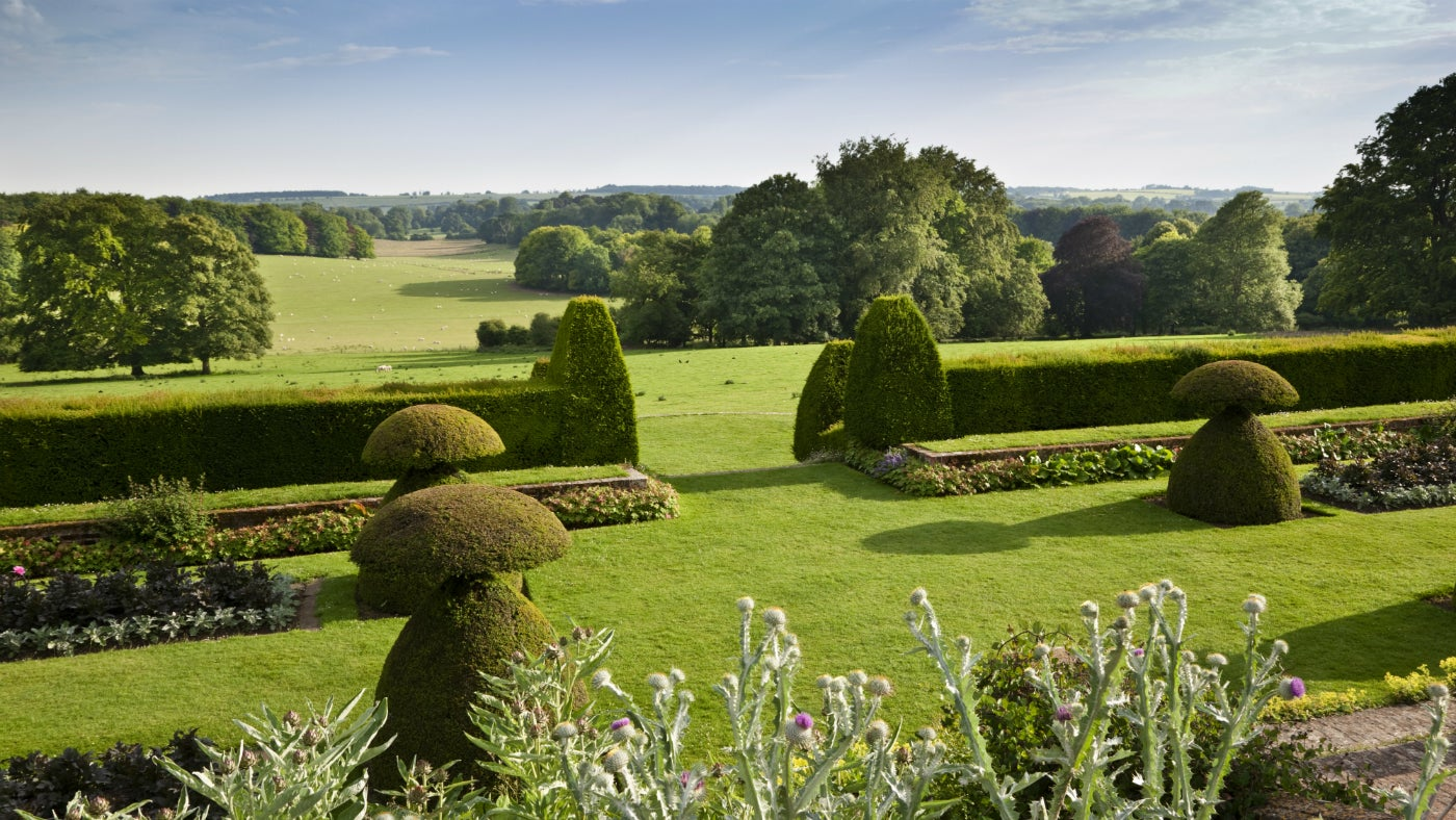 The Sunken Garden and view to the Downs in July at Hinton Ampner