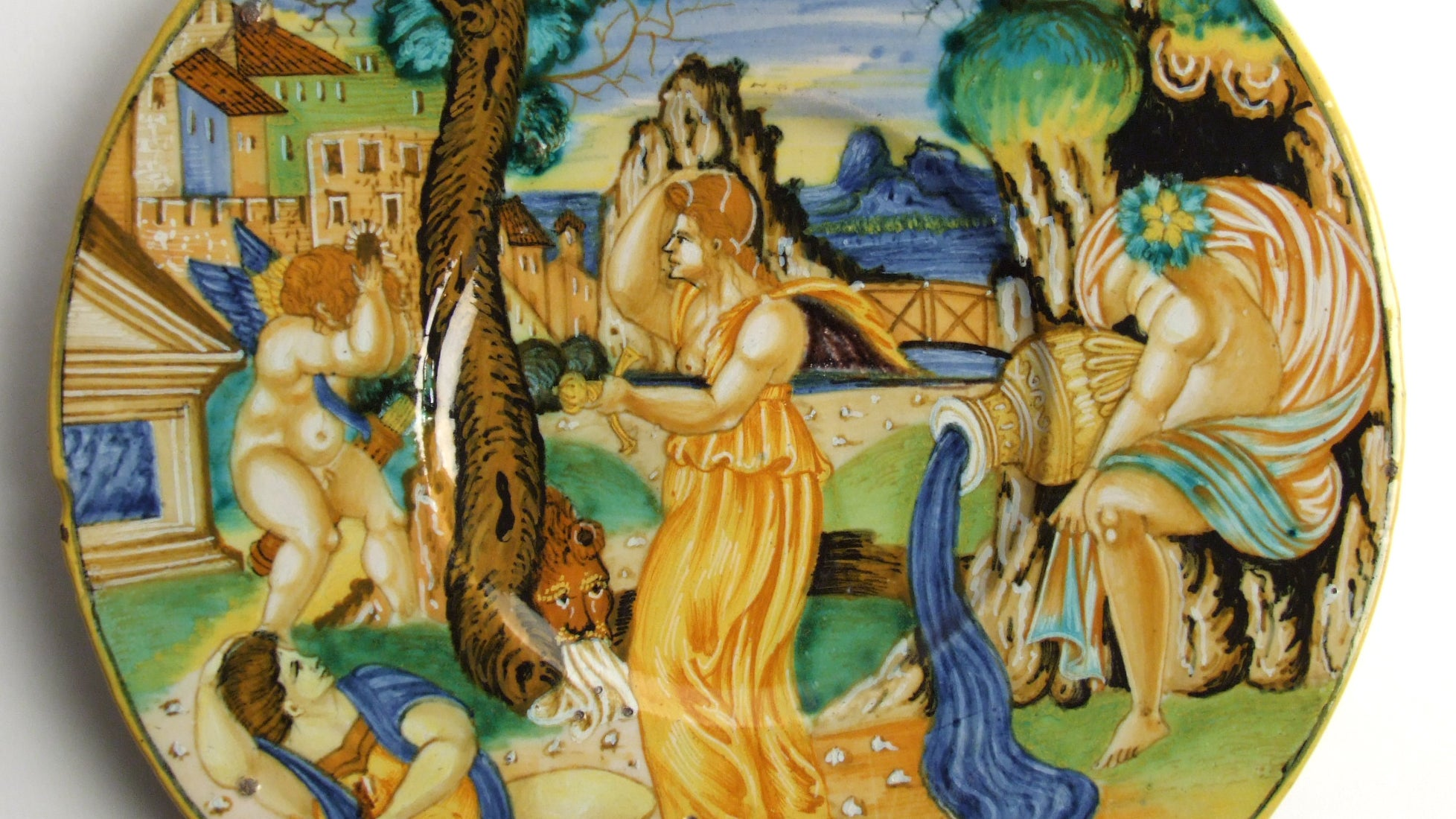 Maiolica plate painted by Francesco Xanto Avelli showing Pyramus and Thisbe Made in Urbino, Italy, 1534.