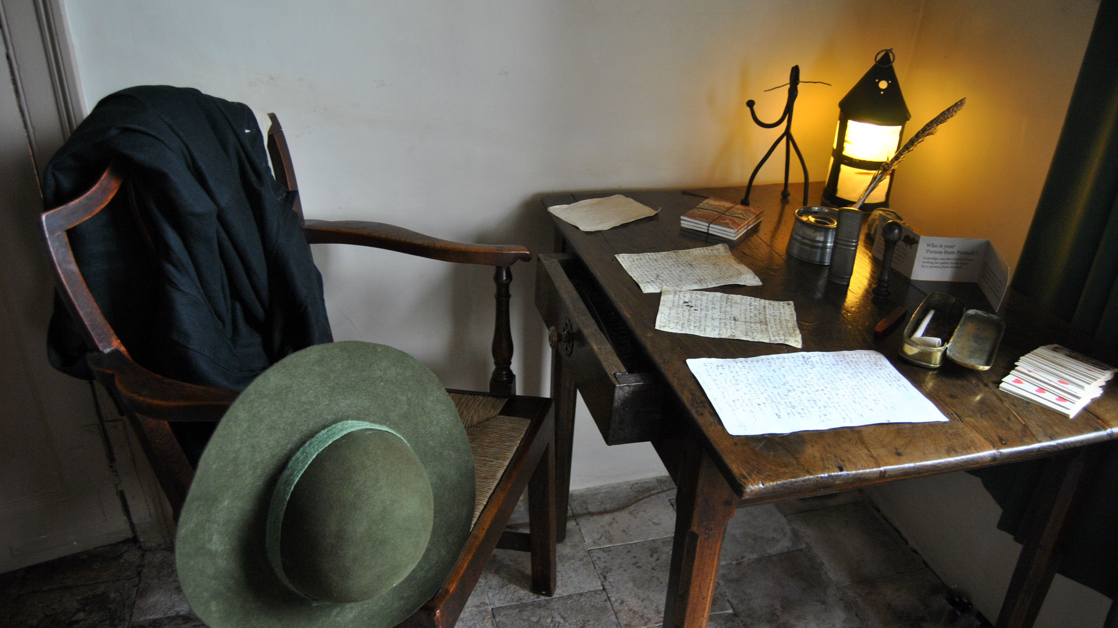 The writing desk in the Second Parlor at Coleridge Cottage