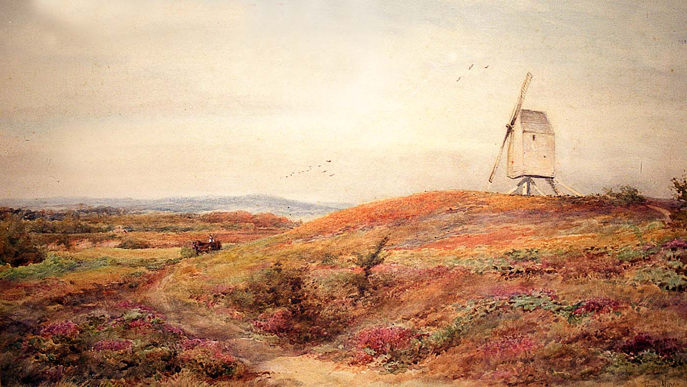 Painting of the Sullington Warren windmill 1893