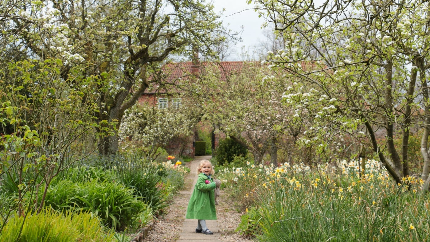Young visitor on Gunby garden path