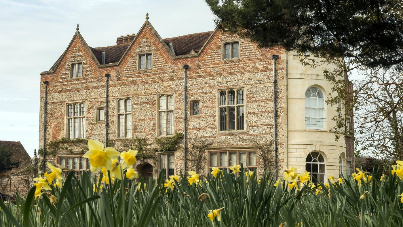 Greys Court mansion house in spring with daffodils
