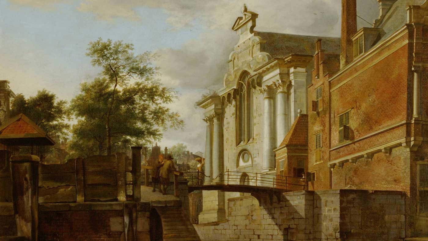 Jan van der Heyden, A Canal Junction, near a Church, c 1670; oil on panel
