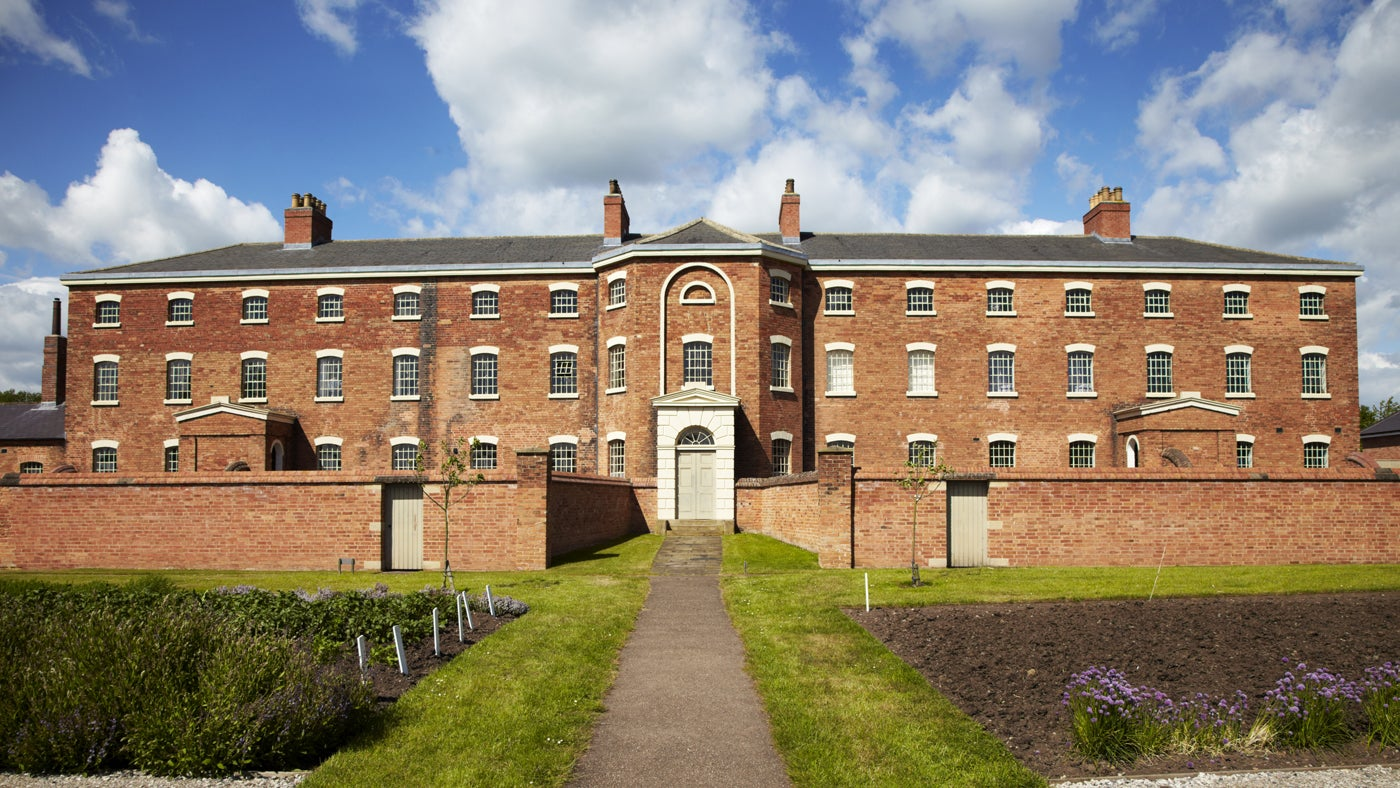 Front of the Workhouse, Southwell on a spring day