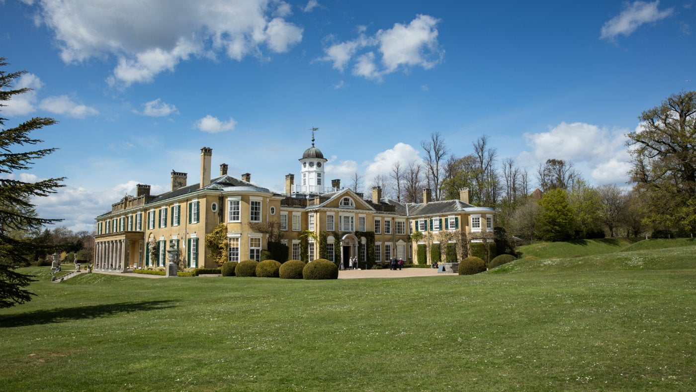 The exterior of the house at Polesden Lacey on a spring day