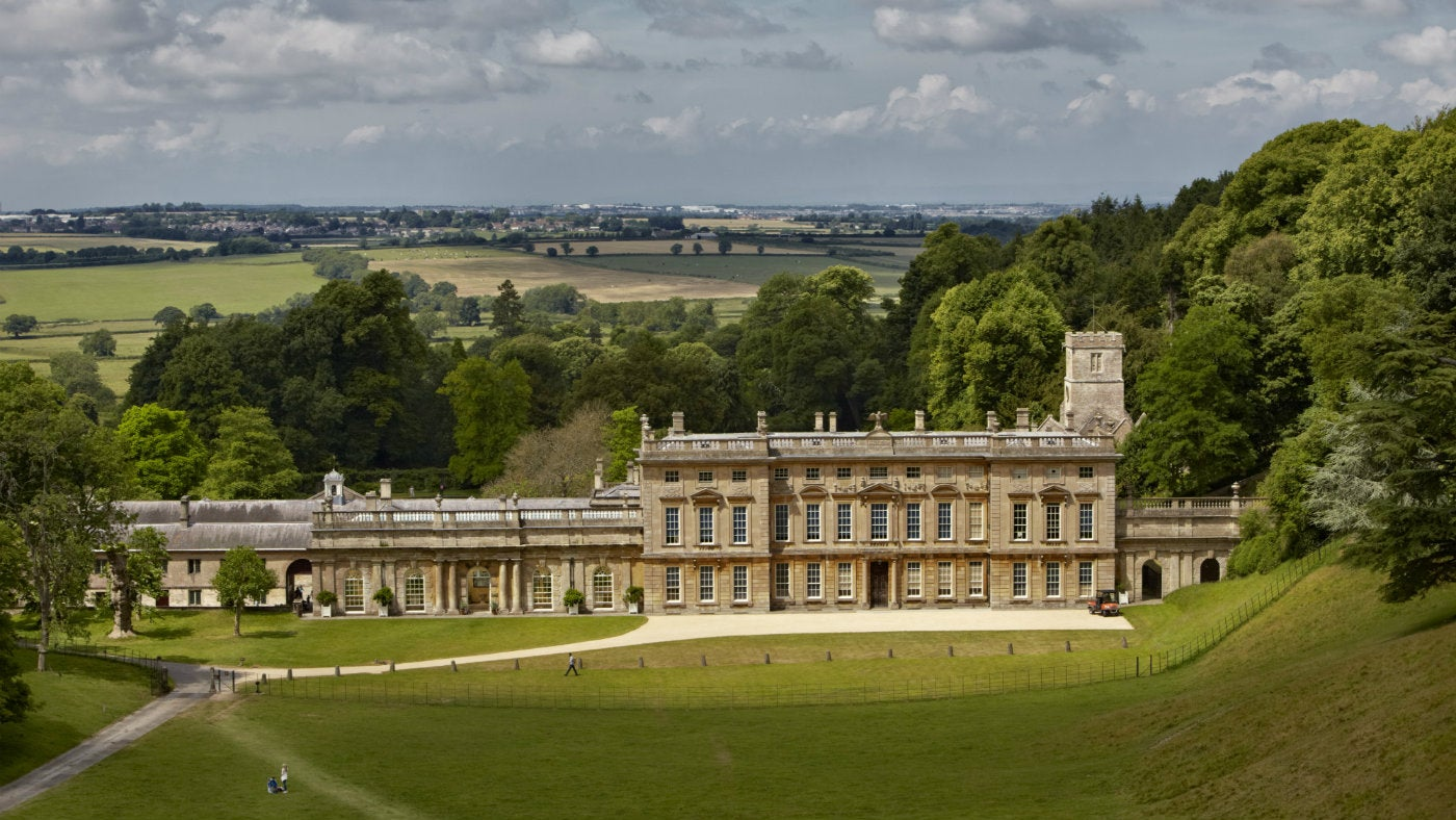 A view of Dyrham Park set in parkland