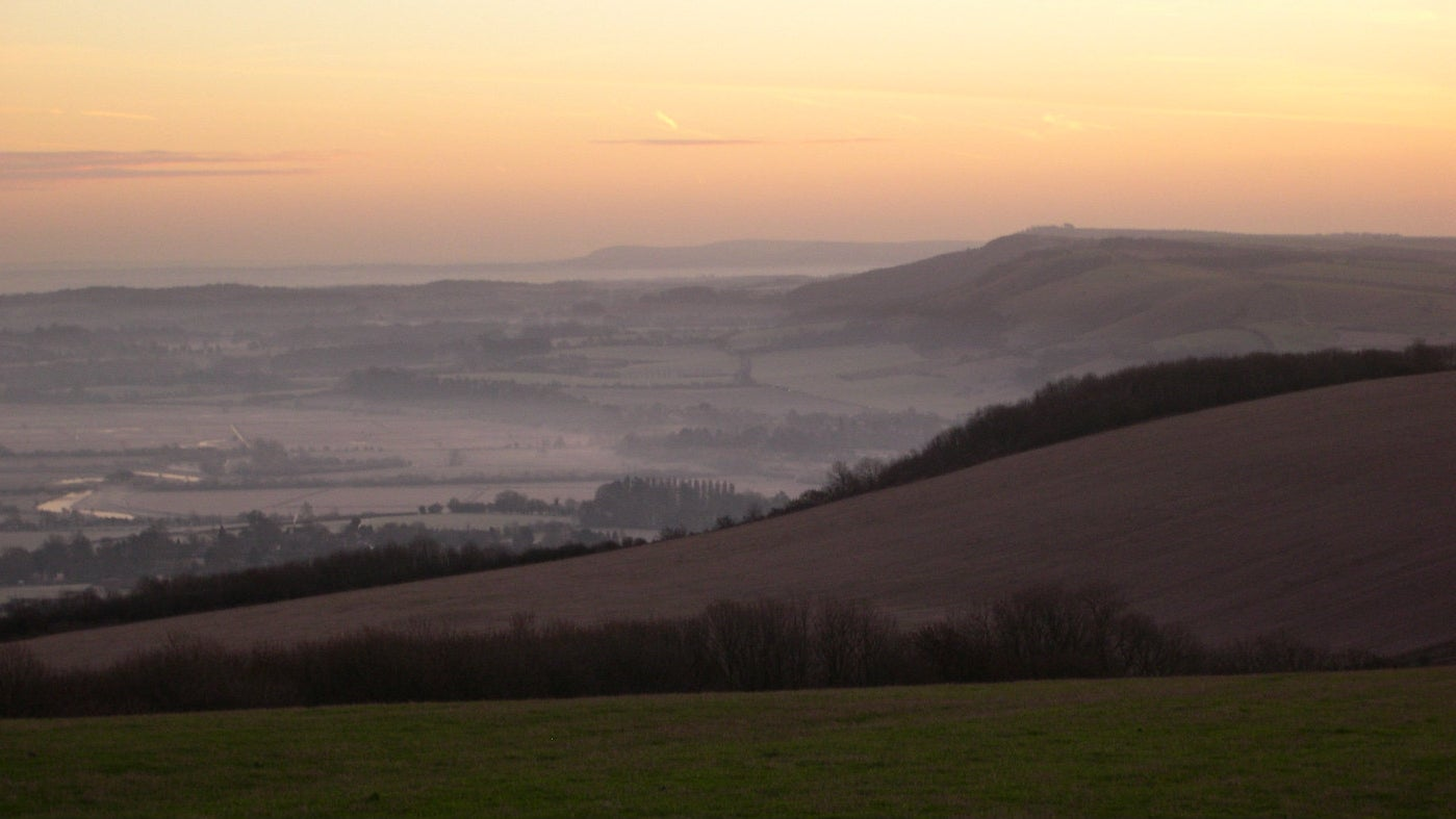 View East from Bignor Hill at dawn