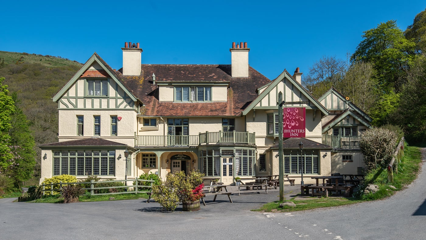 The exterior of Hunter's Inn, Heddon Valley, Devon