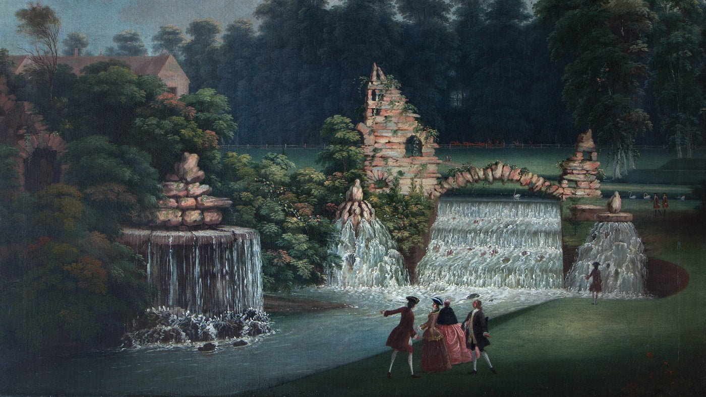 A painting of the cascade approximately dated 1750, shows a rustic arch in the centre of the cascade and a ruin to the left