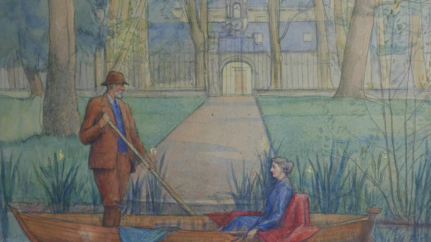 Watercolour on paper, a gentleman and a lady in a boat on water with Belton House in the background