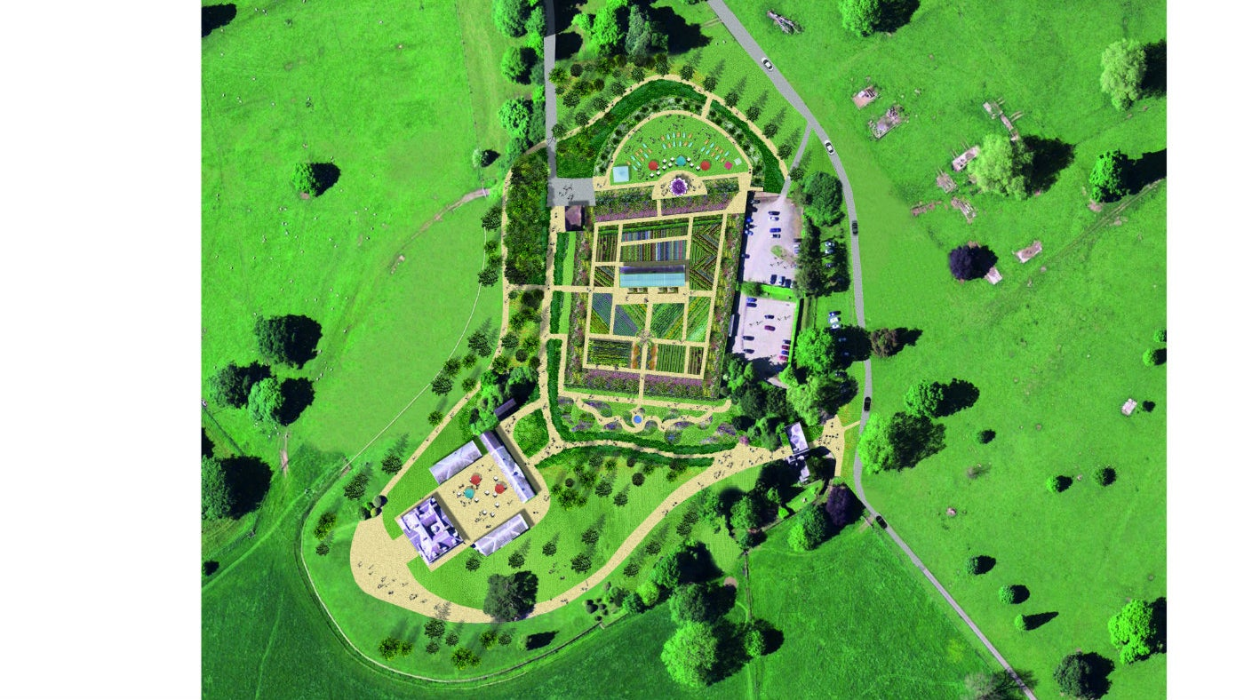 A birds eye view of the new design layout of the walled garden