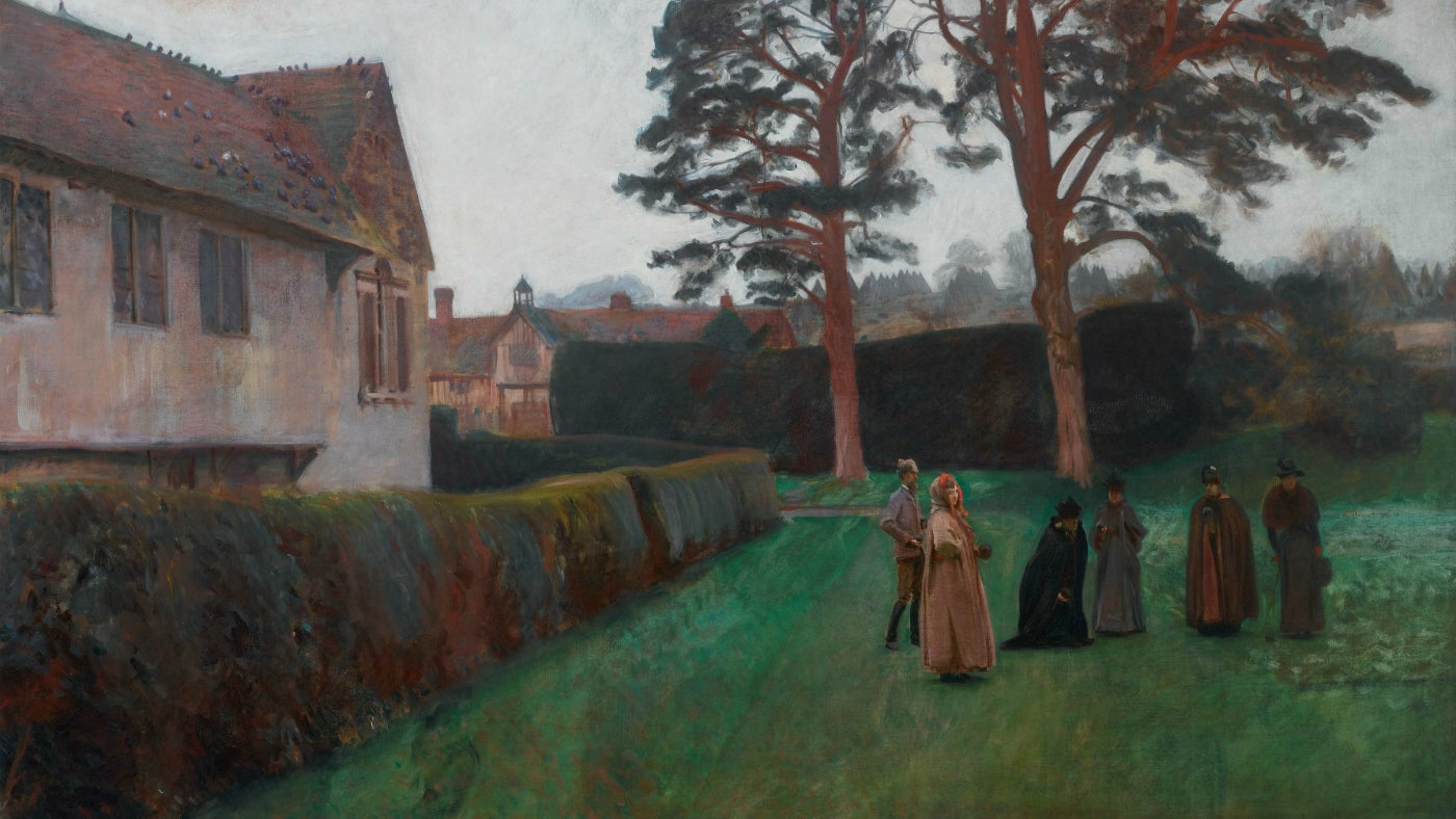 Painting of six people playing lawn bowls at Ightham Mote