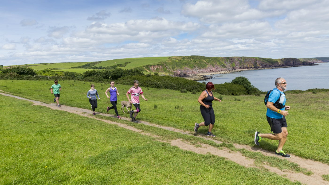 A group running at Stackpole
