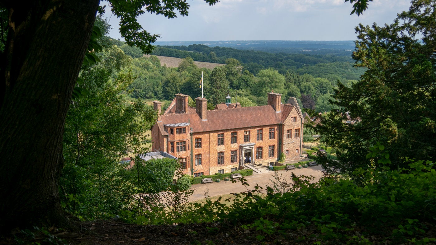 A summer view across Chartwell house and beyond from Mariners Hill