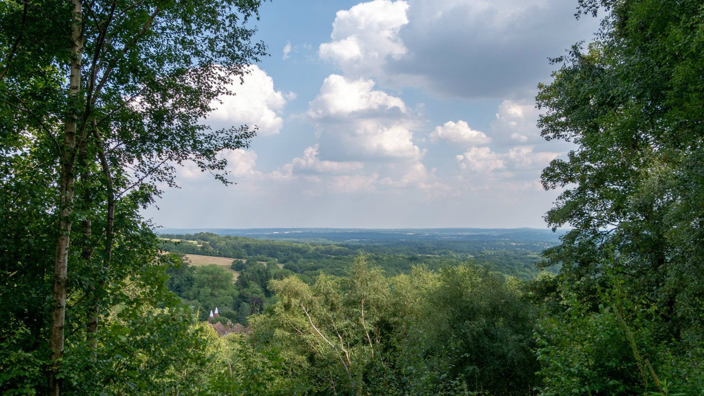 A summer view across the Weald of Kent from Mariners Hill, a National Trust countryside site in Kent