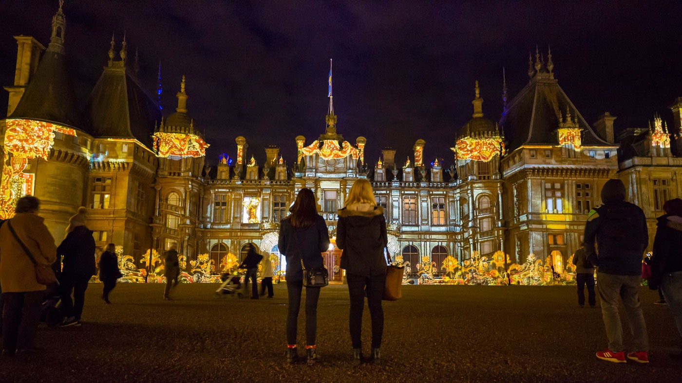 Waddesdon Manor North Front beautifully lit for Christmas, Waddesdon, Buckinghamshire