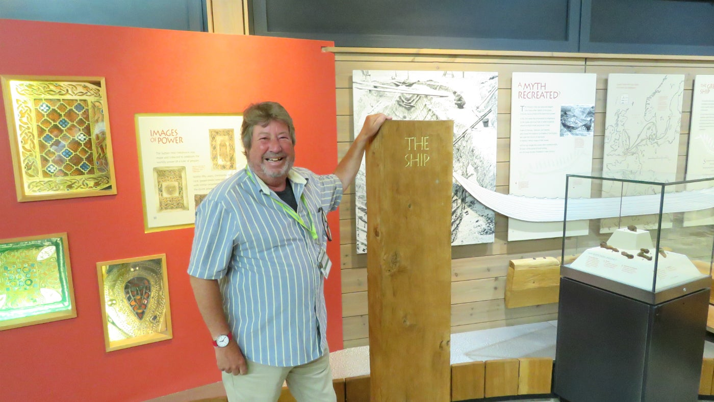 Sutton Hoo Volunteer, Richard, in the Exhibition Hall