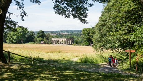A family exploring Gibside