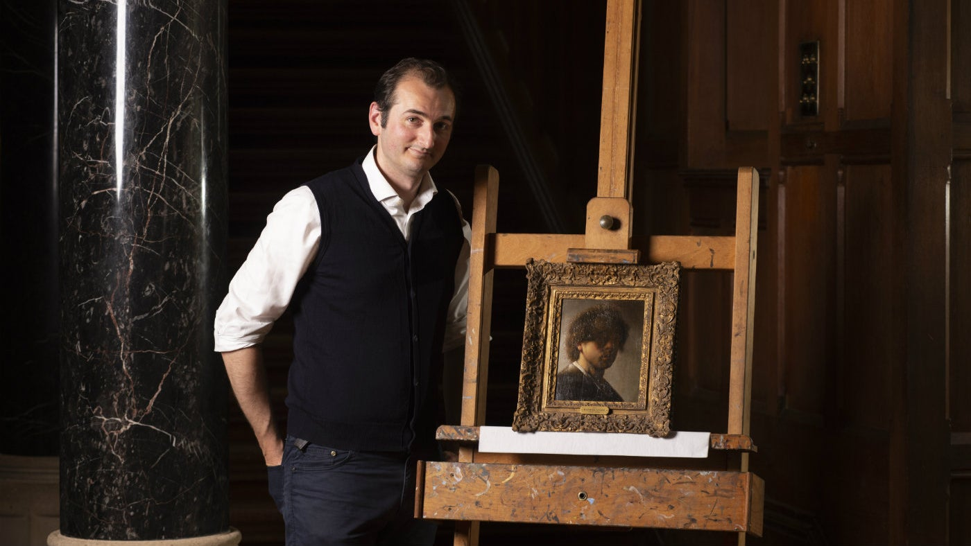 Bendor Grosvenor with Knightshayes' portrait of Rembrandt