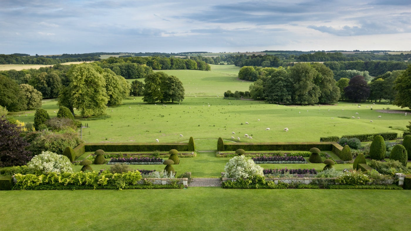 The view from the roof in the evening at Hinton Ampner, Hampshire
