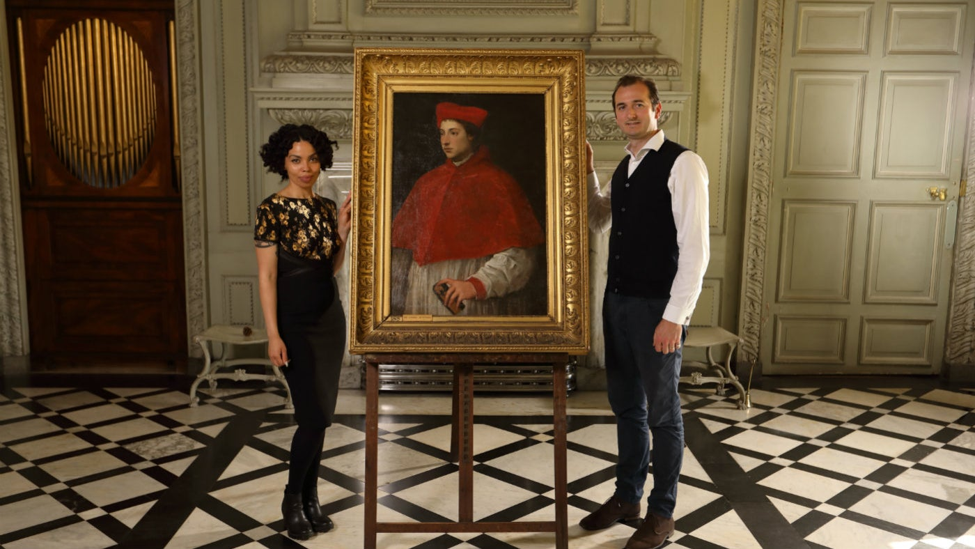 Art historian Dr Bendor Grosvenor and social historian Emma Dabiri in the Marble Hall of Petworth House