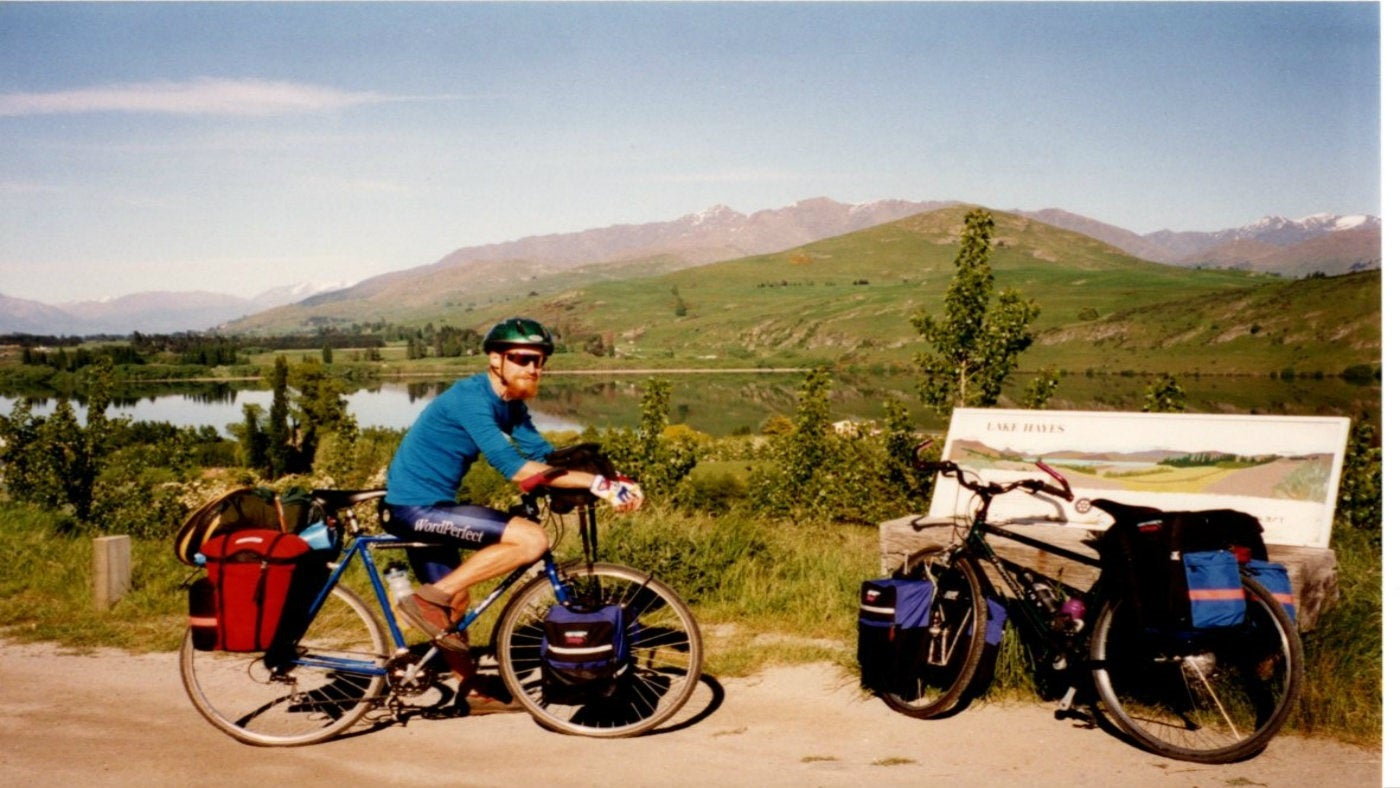 Head Gardener Simon on a cycling holiday in New Zealand