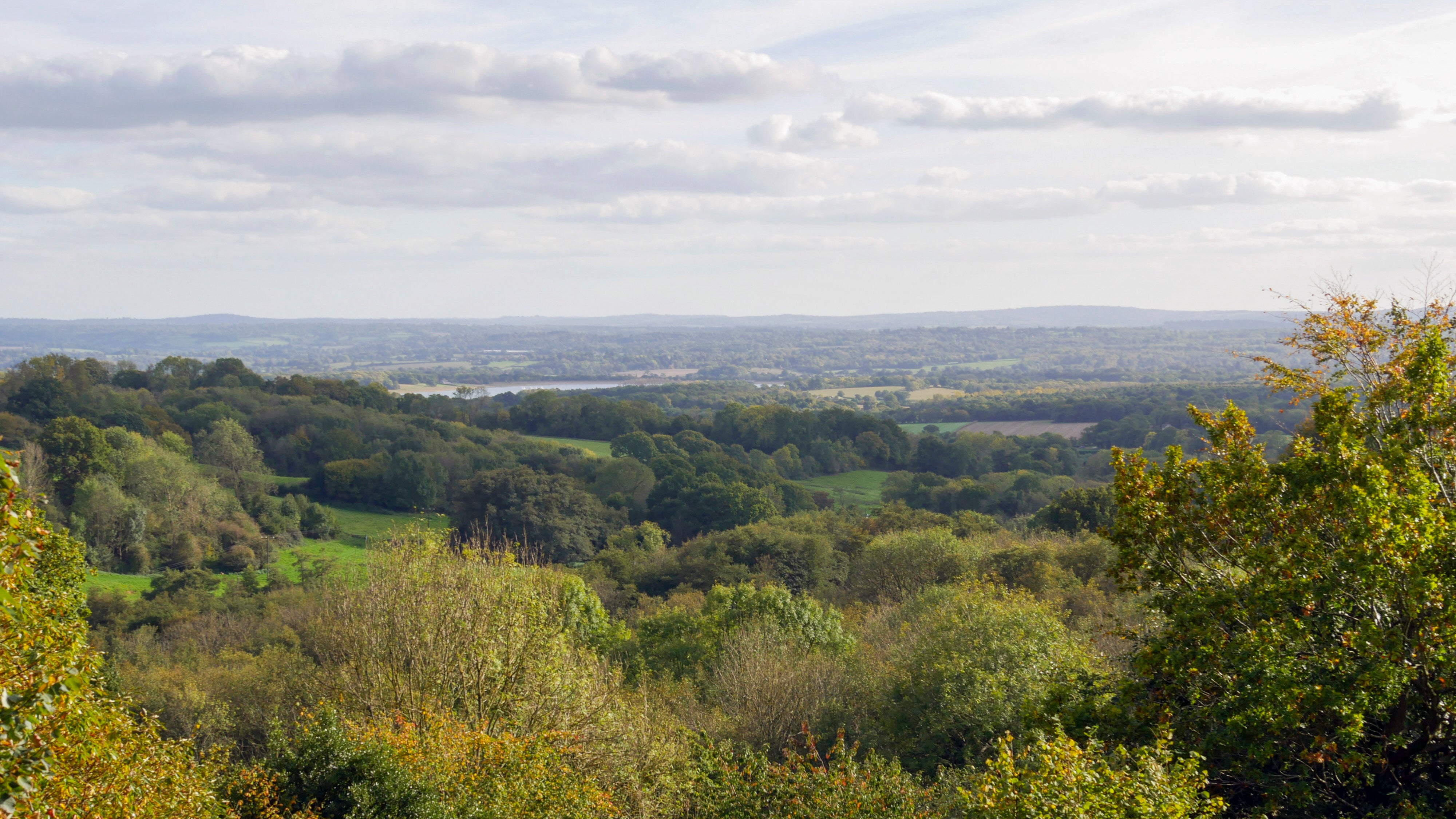 A view over the Weald of Kent from Emmetts Garden, a National Trust place in Kent