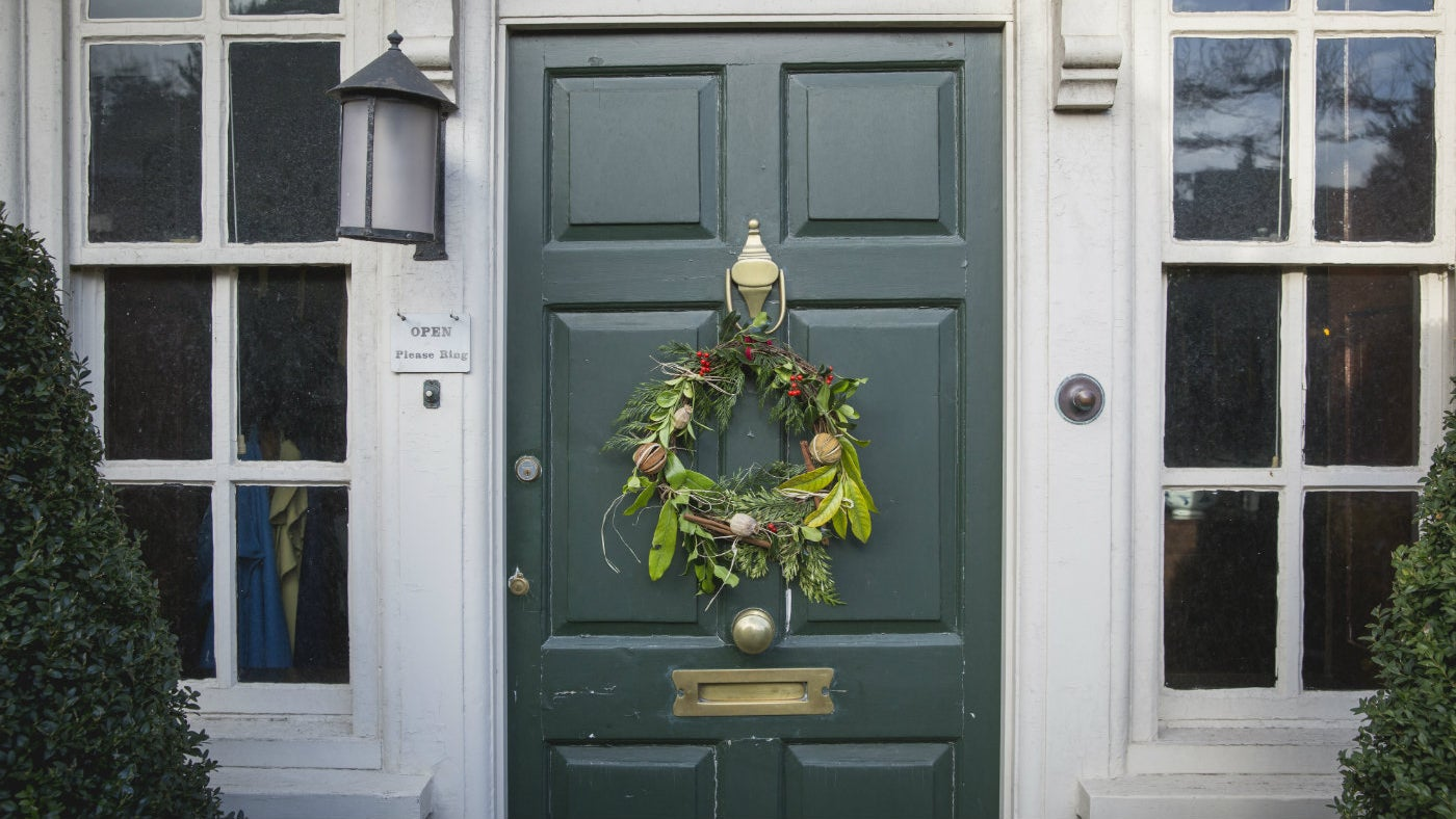 Christmas wreath on the front door at Quebec House, a National Trust place in Kent
