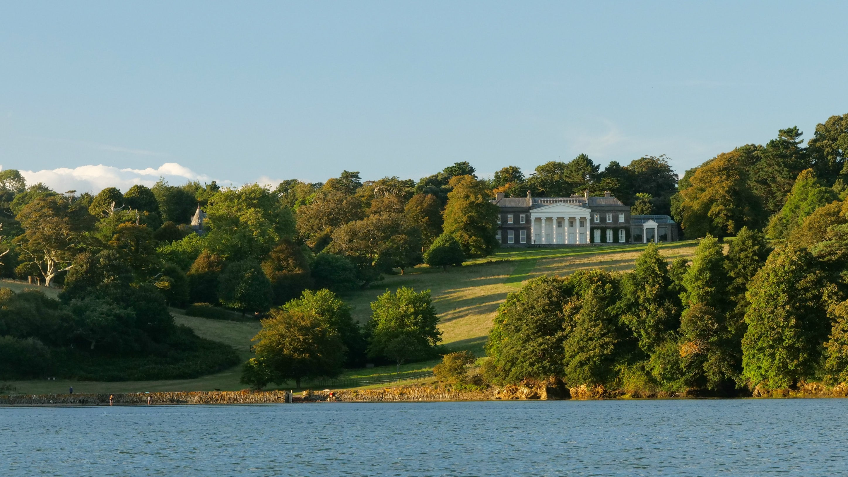 Trelissick house viewed from the River Fal, Cornwall