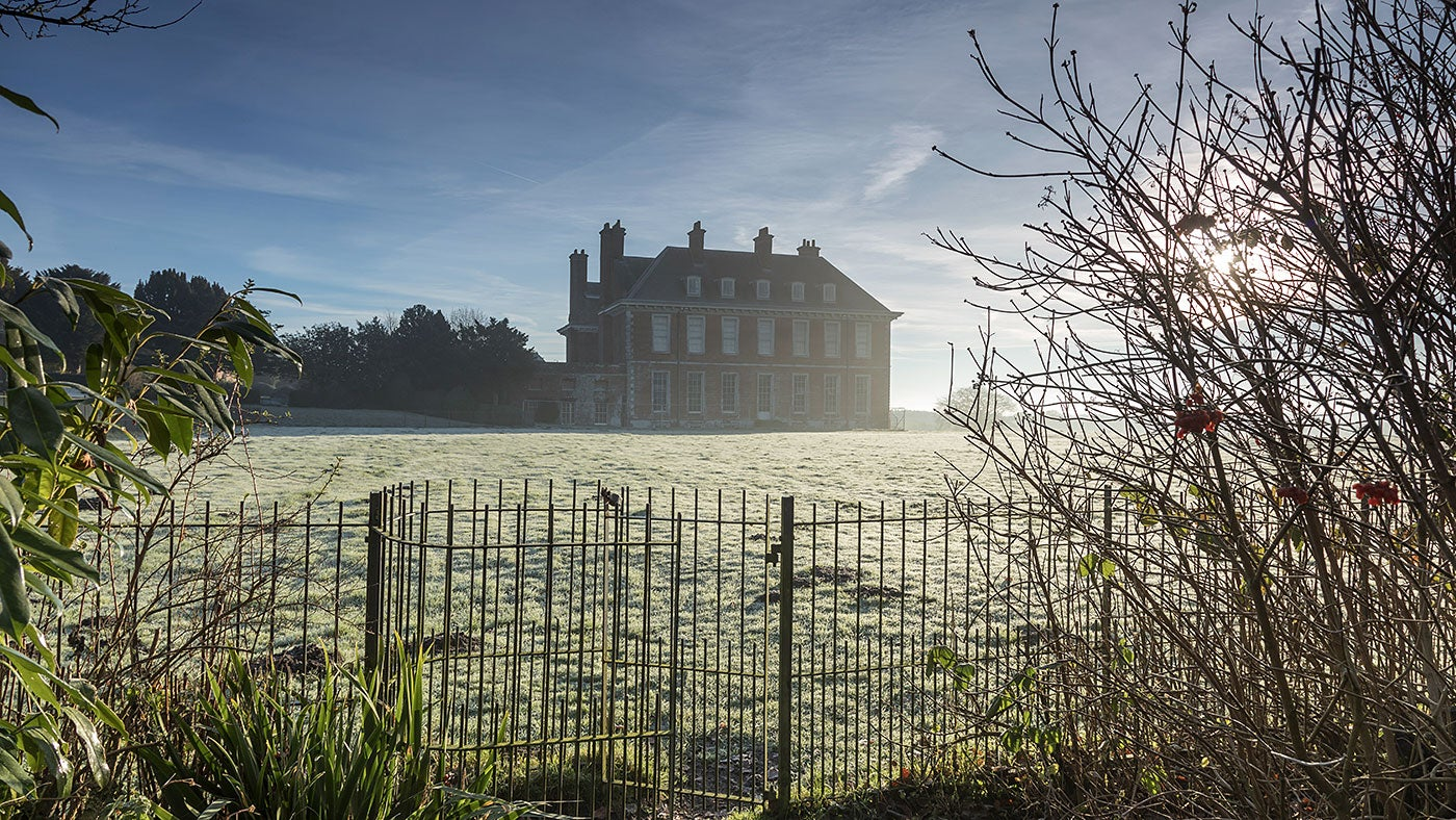 Winter sunrise over Uppark House and Garden, West Sussex