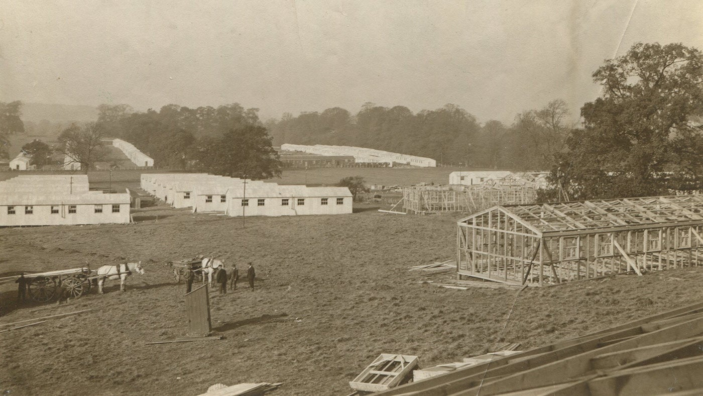 Belton MGC camp under construction 1914