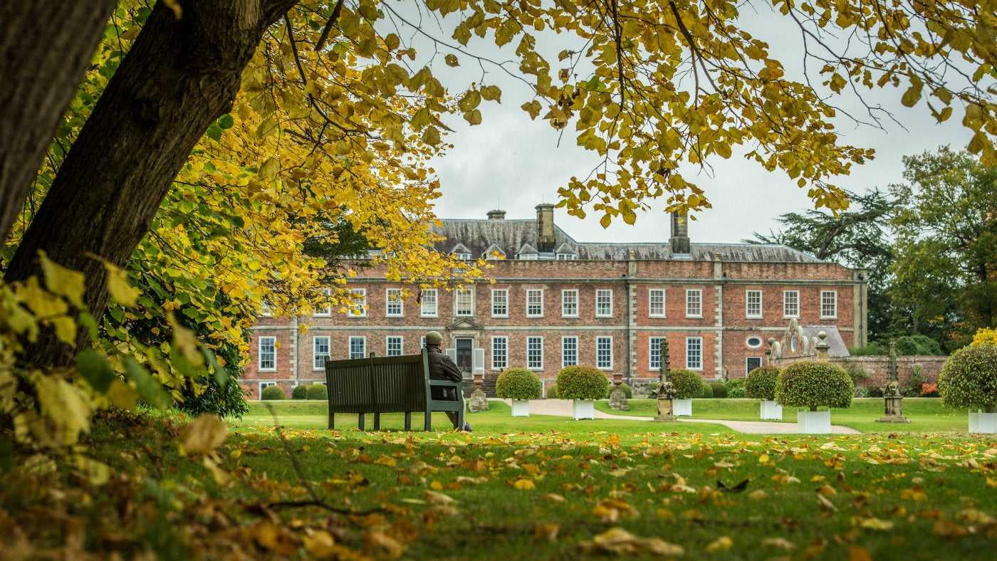 An autumnal view of Erddig house